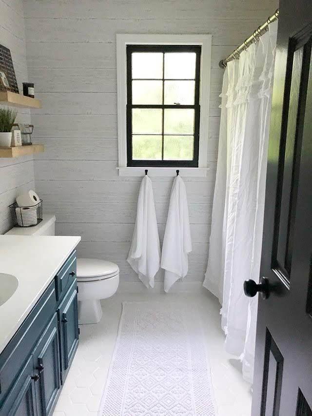 Wallpops Shiplap Reclaimed Wood Peel And Stick Wallpaper Bathrooms Remodel Modern Farmhouse Bathroom Small Bathroom