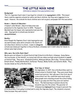 Little Rock Nine Civil Rights Reading Comprehension Article, DBQ