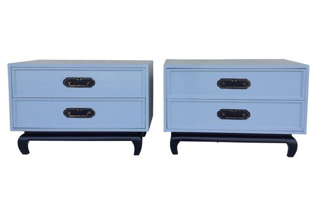 Midcentury Asian Style Nightstands Pair