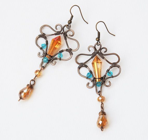 Long Vintage Earrings Wire Wrapped Top Selling Jewelry Wedding Accessories  Gift For Her Greek Goddess Boho Orange Turquoise Best Seller