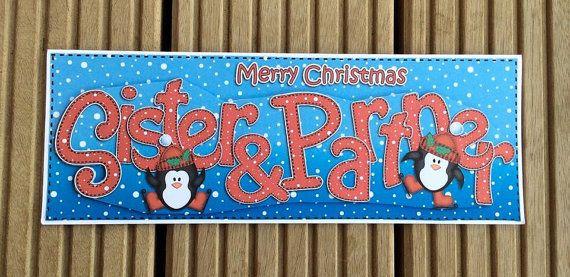 Sister & Partner Christmas Card by TheBlenheimCardCo on Etsy