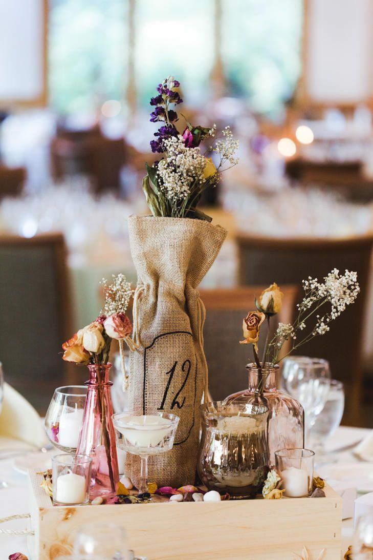Rustic burlap and dried-flower centerpiece | Centerpieces ...