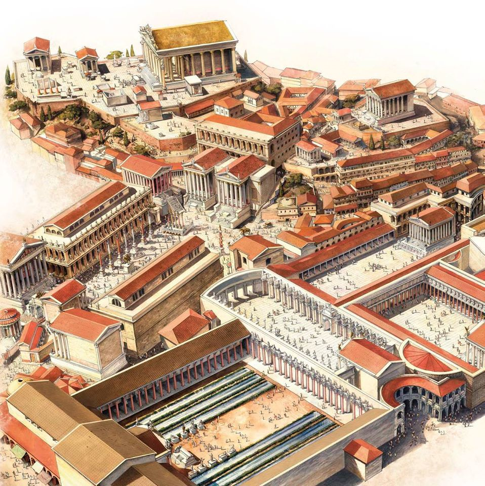 Reconstruction of the Roman Forum. It is a vast complex of baths ...