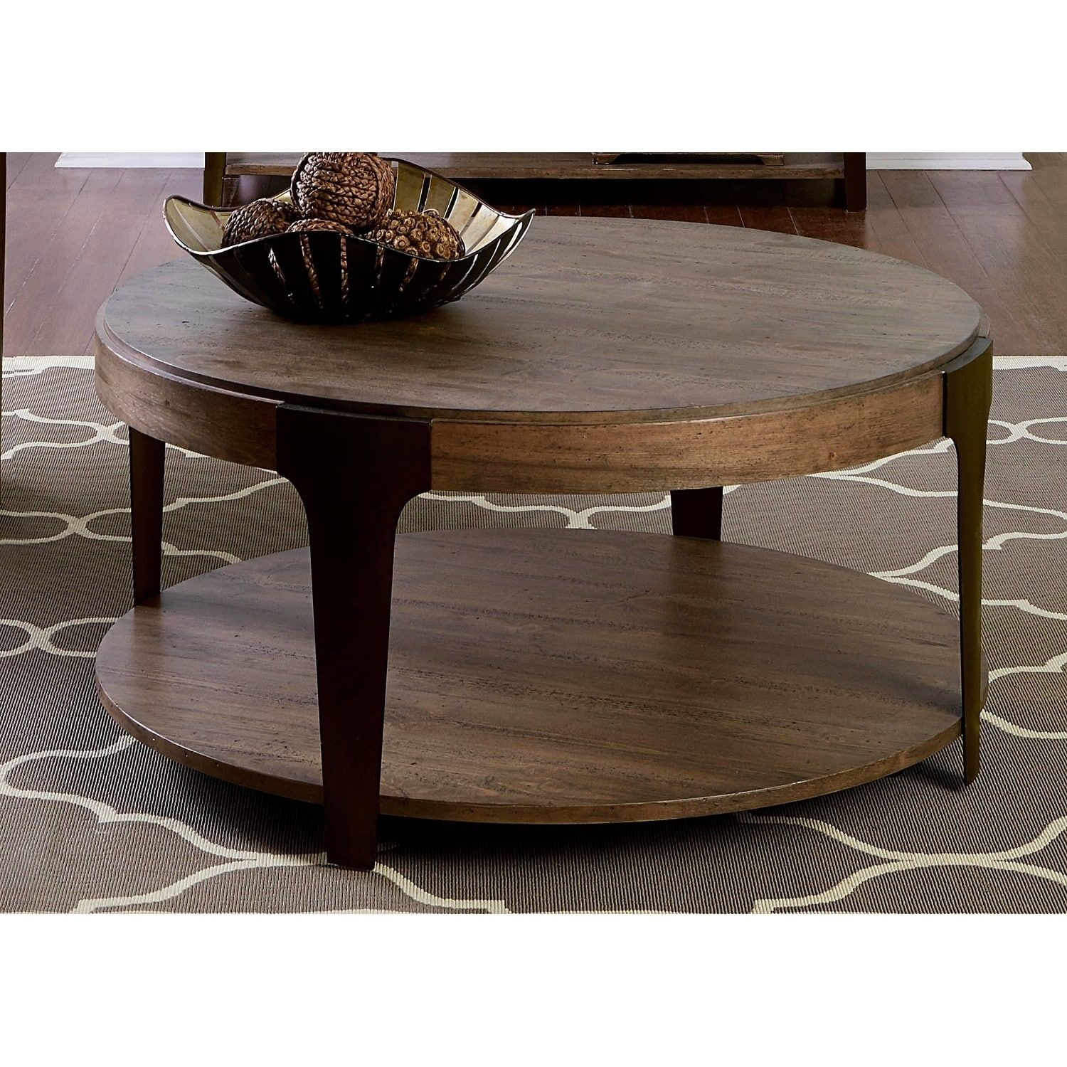 Liberty Sapphire Lakes Bark And Charcoal Metal Round 3 Piece Occasional Set Liberty Furniture Round Coffee Table Table