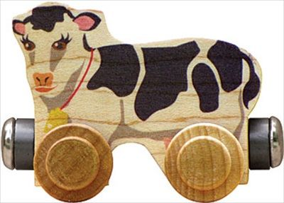 CLOVER THE COW - Clover the Cow is crafted from local sustainably harvested native maple hardwood and is compatible with our and other wooden railway systems. Click to purchase http://www.americantoyboutique.com/item_650/CLOVER-THE-COW.htm - Made in America $5.30