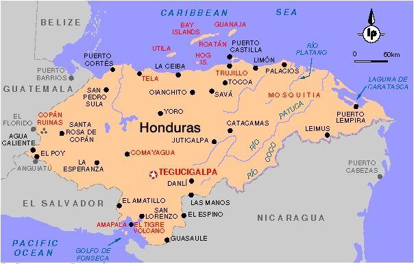 Honduras Mapa Map Showing Belize As Well Roatan Honduras Roatan