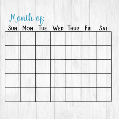 Blank Month Calendar Template  Printable  Svg Cut File  Pdf Www