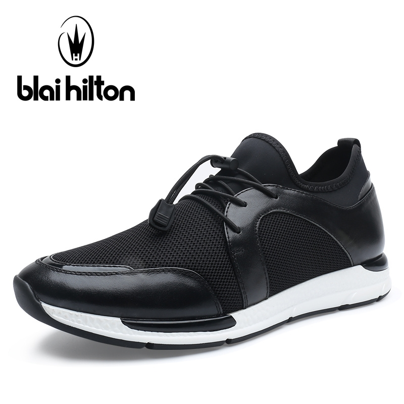 67.59$  Watch now - Blai Hilton 2017 New Fashion Summer men shoes Genuine Cow Leather Shoes Elastic band Breathable/Comfortable Men's Casual Shoes  #buychinaproducts
