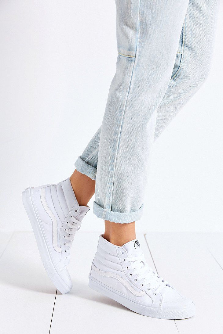 Light jeans and white sneaks | Vans sk8 hi slim