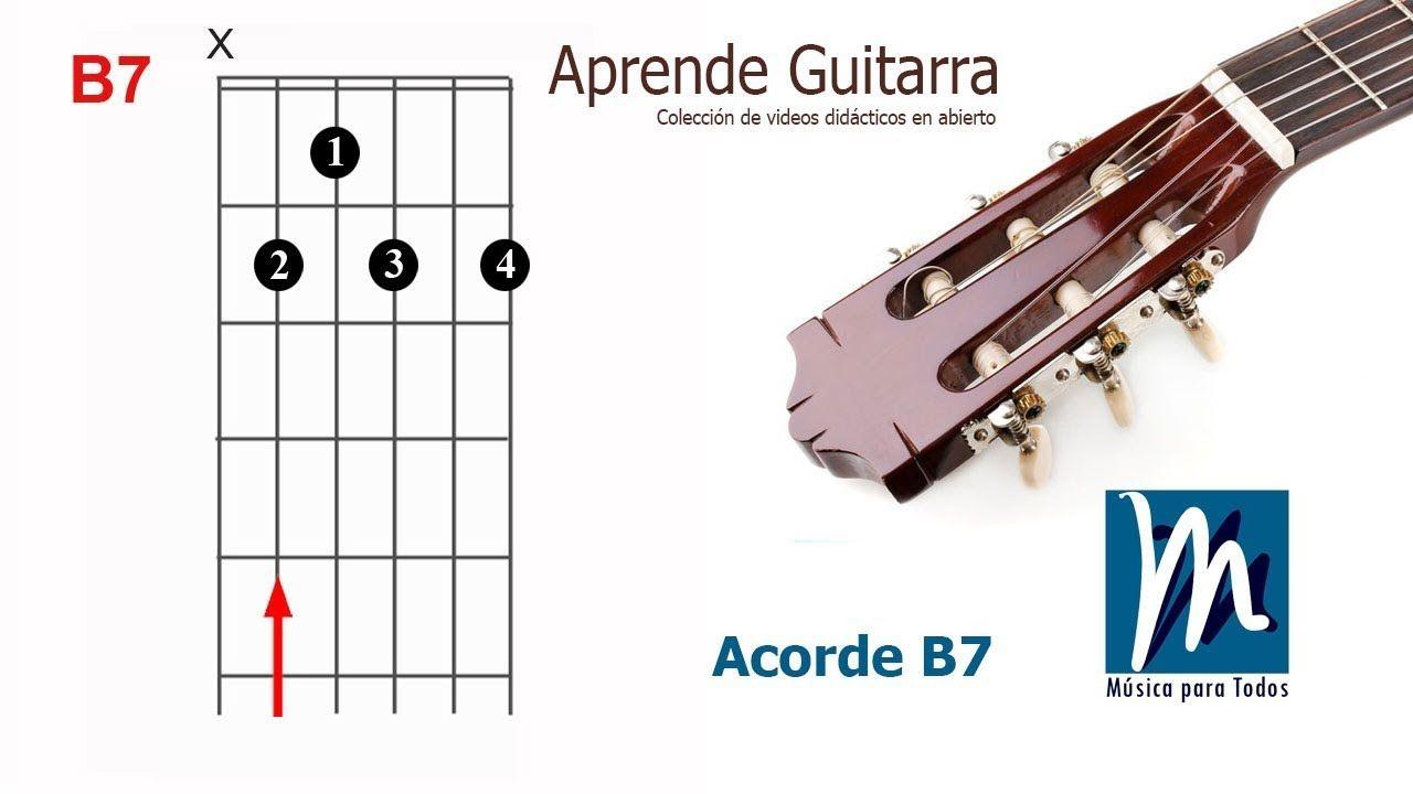 Aprende Guitarra 03 Acorde De Si Séptima B7 Guitarras Aprender A Tocar Guitarra Tocar La Guitarra