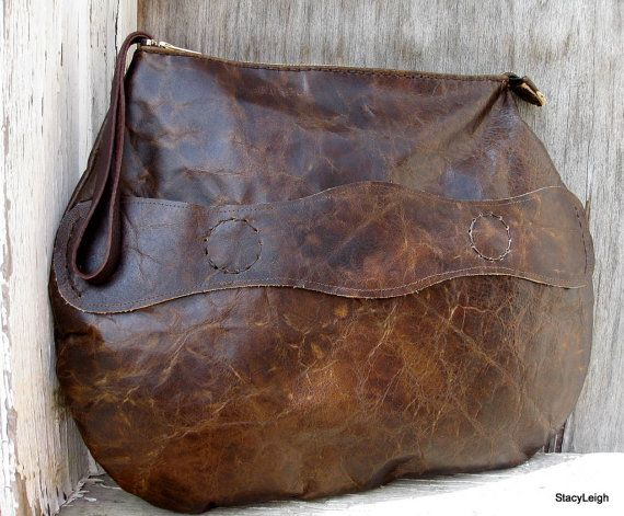Old World Distressed Oversized Leather Clutch