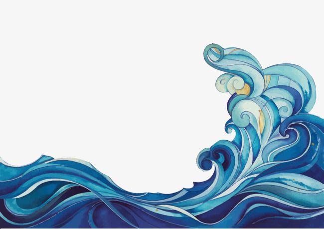 Vector Cartoon Waves Wave Blue Cartoon Png And Vector Surfboard Art Wave Art Wave Drawing