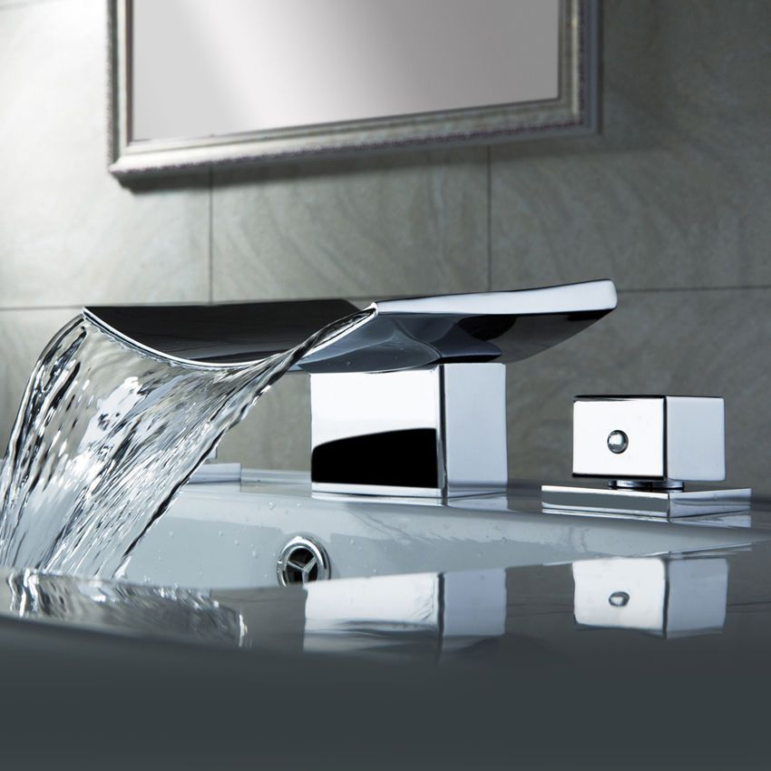 Modern Chrome 3 Hole Two Handles Bathroom Basin Mixer Tap Deck Mounted Faucet Sink Faucets Bathroom Faucets Waterfall Chrome Bathroom