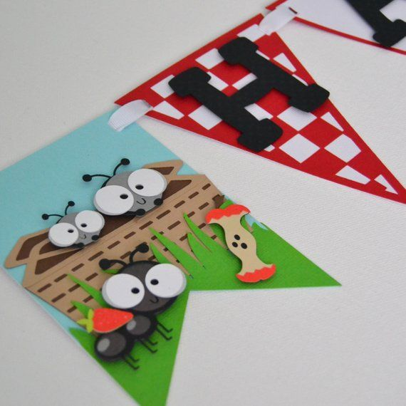 Photo of Items similar to Picnic Themed Birthday Banner, Ants Themed Birthday Banner on Etsy