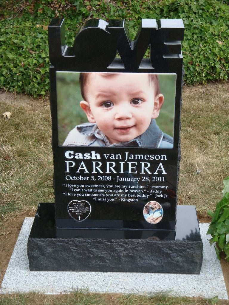 Custom Modern Headstone Design With Huge Ceramic Picture And Carved - Ceramic photo on headstone