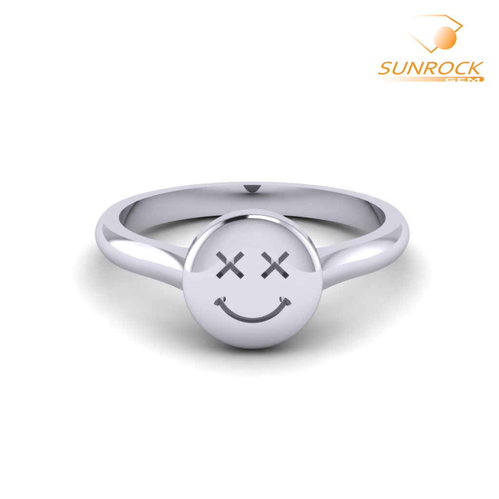 Happy Confused Emoticon Ring White Gold White Gold Rings Emoji Ring Argentium Silver