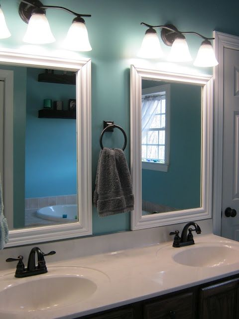 Master Bathroom Replace The Large Glass Mirror With Two Smaller Ones And Place The Handtowel Hardware In Between Bathroom Mirror Frame Home House Bathroom