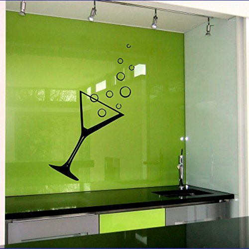 Wall Decals Vinyl Sticker Cocktail Glass Kitchen Bar Cafe Restaurant ...