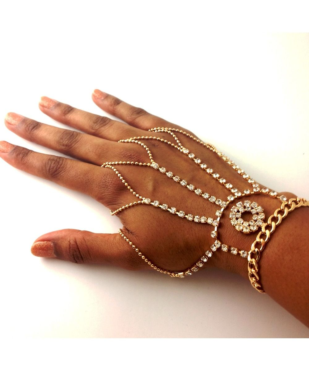 Ring Bracelet Chain: Diamonds And Chains Hand Jewelry #shoplately