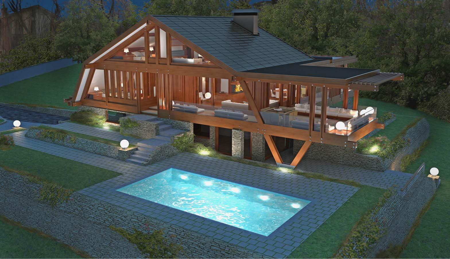 Casa in iroko pagano a due piani case in legno di lusso for 6 piani di casa con 4 bagni