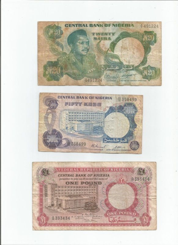 5-50 NAIRA 4 PIECE UNCIRCULATED RECENT BANKNOTE SET NIGERIA