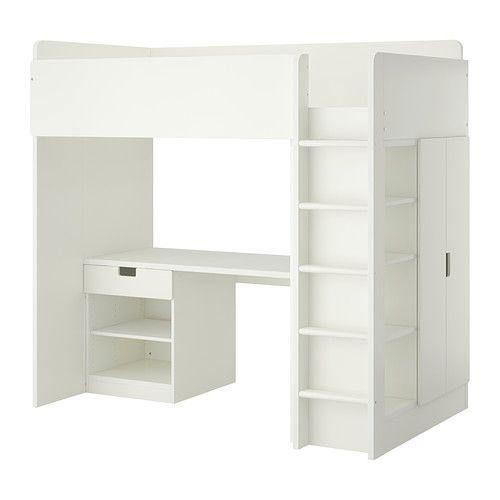 STUVA Loft bed with 1 drawer/2 doors, white | Lofts
