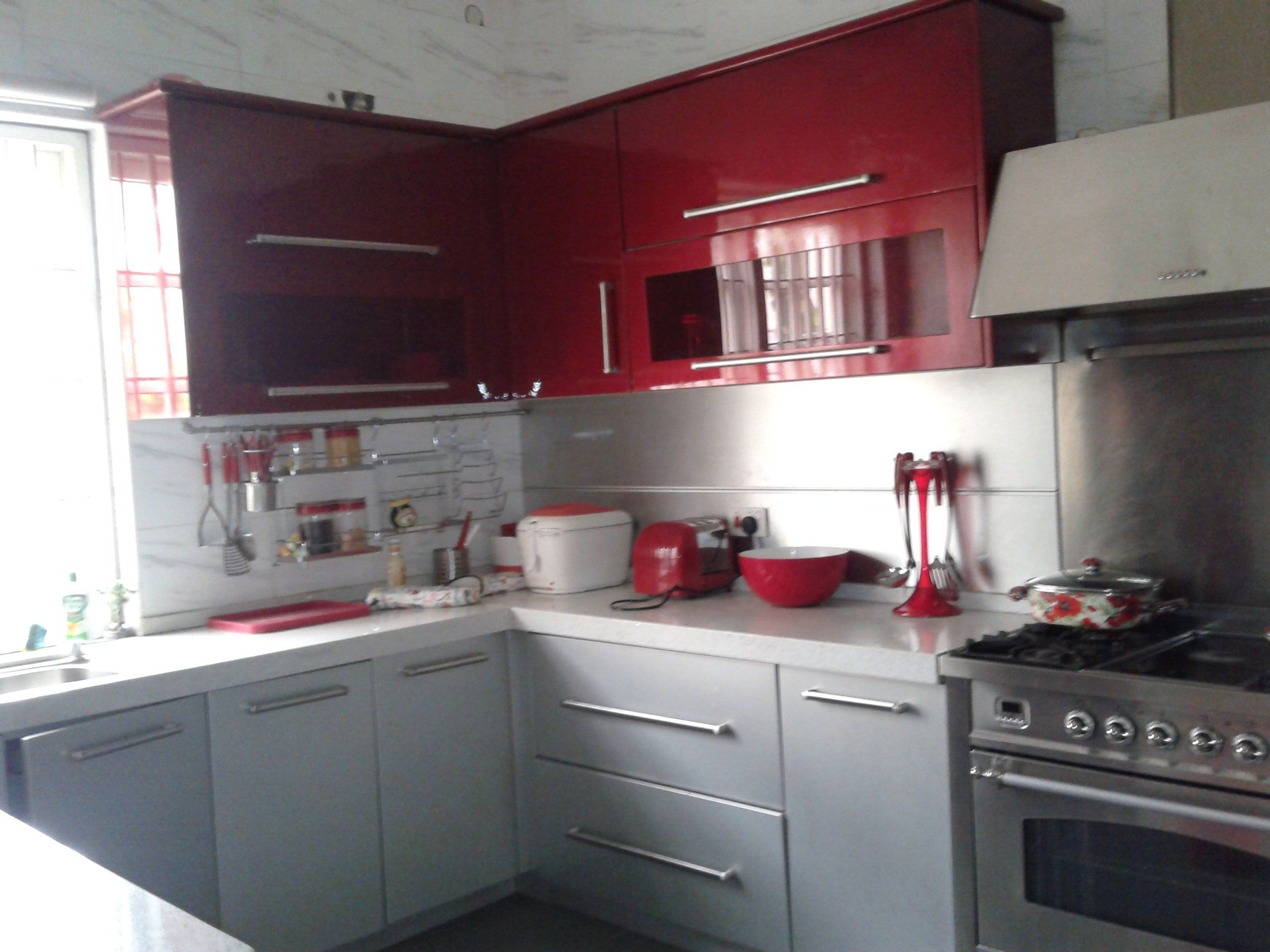 Oppein Kitchen Cabinet For Abuja Project Kitchen Red Kitchen Kitchen Cabinets