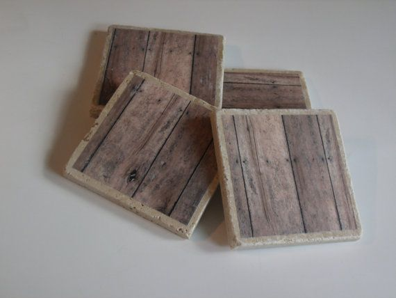 Wood Coaster Set by PickadillyGarden on Etsy