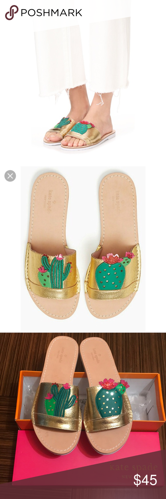44cb46dd818b Kate spade iguana flats slides sandals Super fun style Cactus detail Gold  tumbled leather kate spade Shoes Sandals