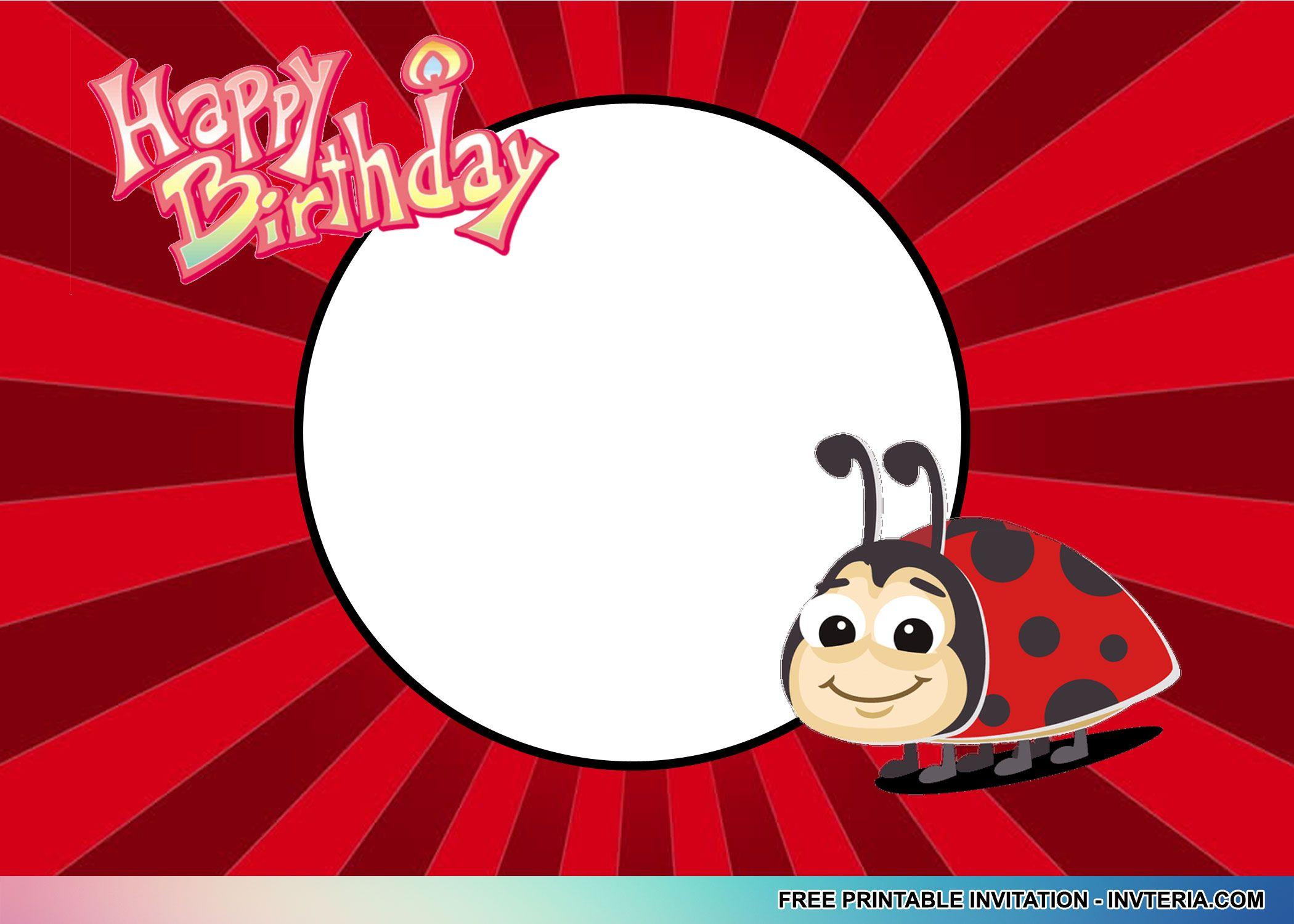 Luxury Ladybug Birthday Invitation Sketch - Invitations and ...