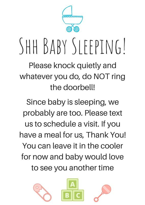 graphic relating to Printable Baby Sleeping Sign Front Door identify Postpartum Indication for entrance doorway as soon as little one is born