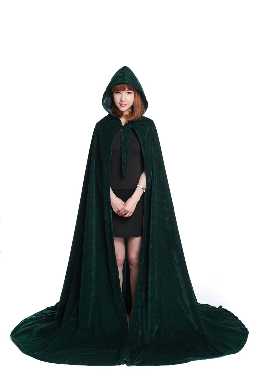 cosplay cloak free shipping new green velvet hooded vampire cape halloween party cloak halloween costumes witchcraft - Halloween Costumes With A Cape