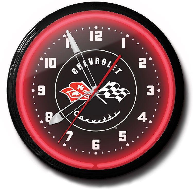 Amazon Com Corvette Neon Clock Home Kitchen Neon Clock Wall Clock Glass Clock