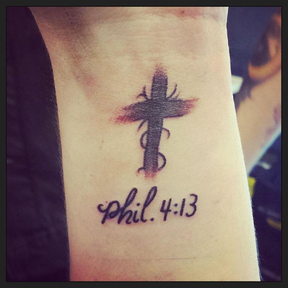 Cross faith phil 4 13 tattoo bits of me pinterest for Faith cross tattoos