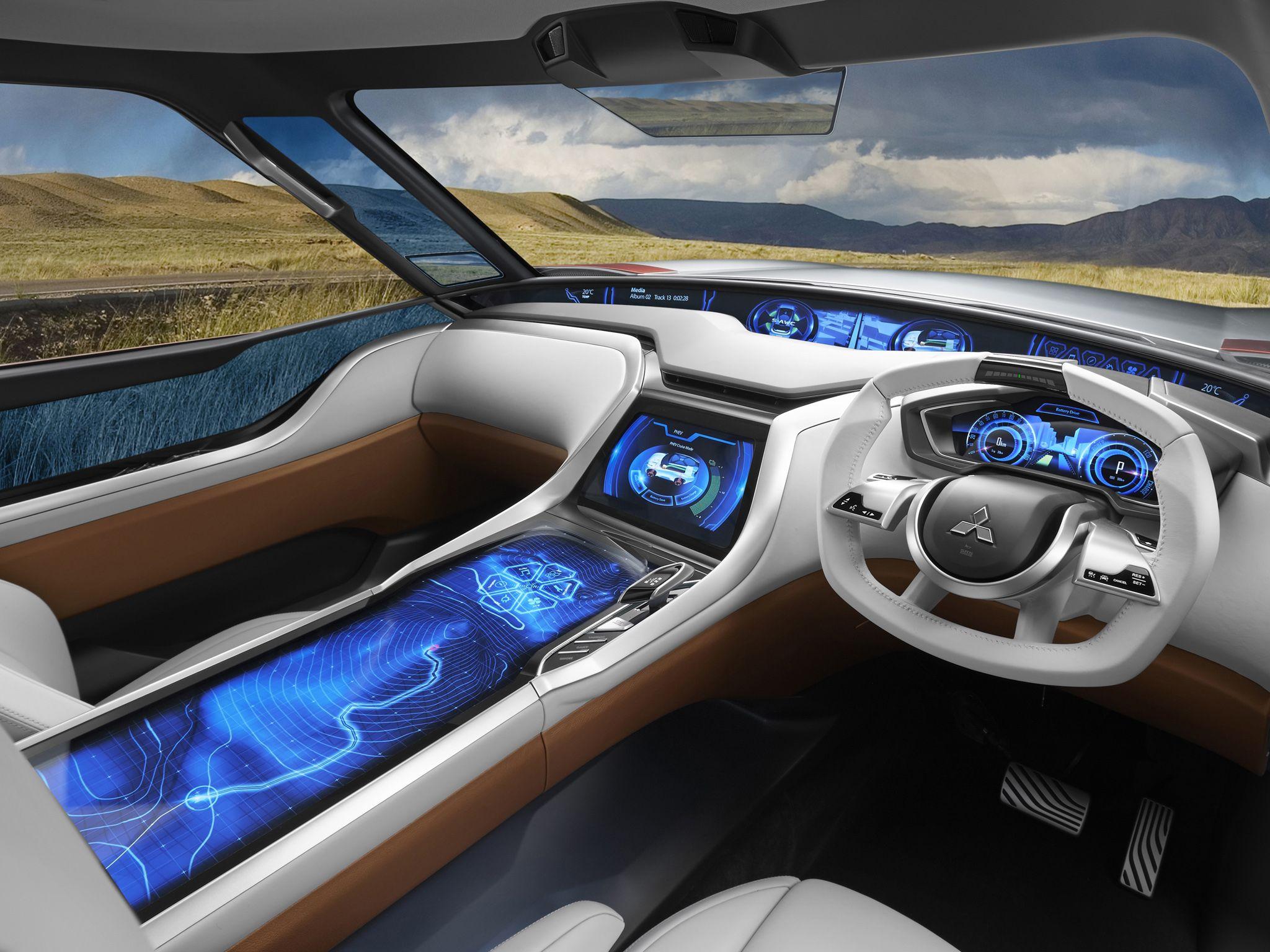 Car interior brown - Mitsubishi Phev White Brown Blue Interior Concept Tech Display Car Screen Interface Energy Interiors Pinterest Cars Blue Interiors And The O Jays