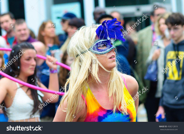 EDINBURGH, SCOTLAND - JULY 17, 2016: Closeup of a member of Hula Honeys performing in the Carnival of The Edinbu #Ad , #Paid, #member#Closeup#Honeys#Hula