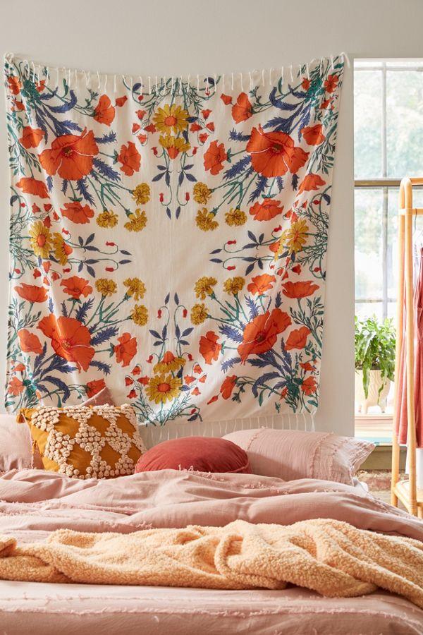 Vivid Rose Flower Print Tapestry Wall Hanging for Home Bedroom Dorm Decoration