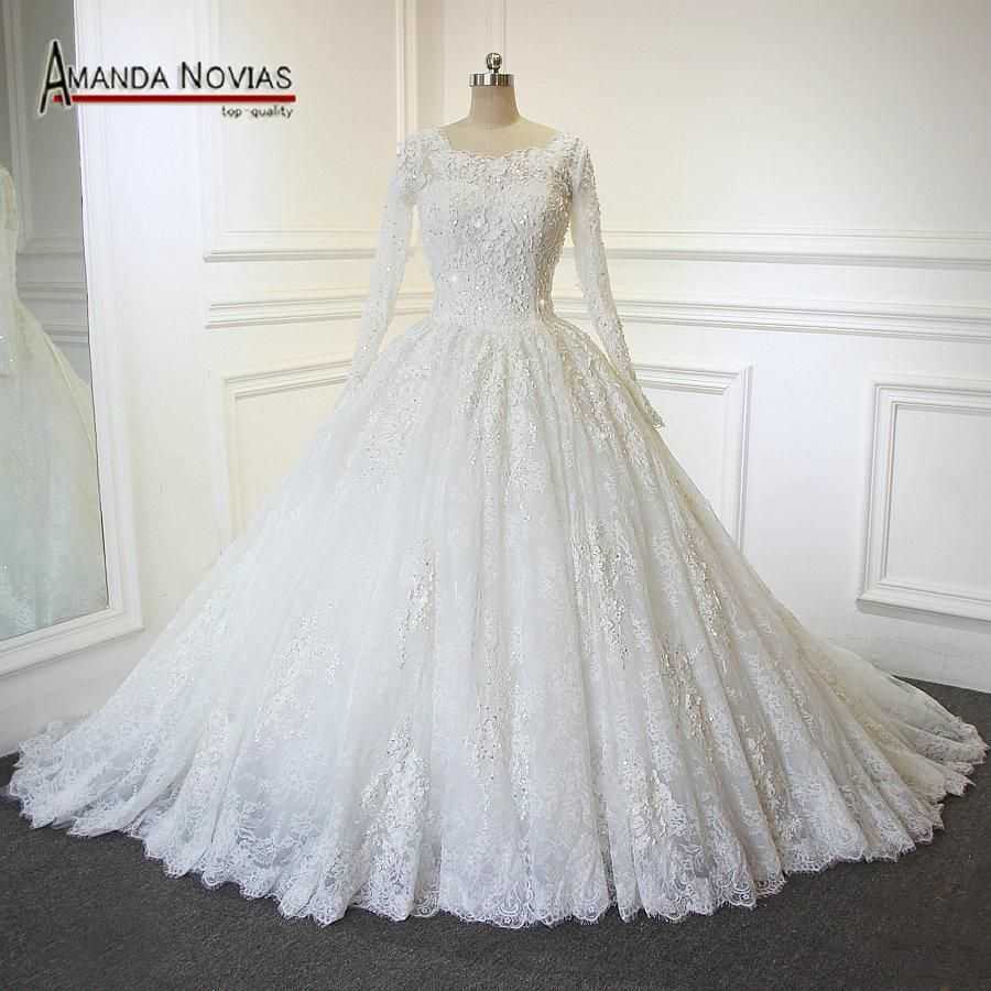 Full lace long sleeves wedding dress amanda novias luxury wedding