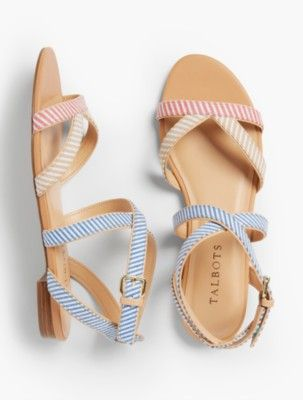 1f98e55161a3 Talbots  Keri Multi Straps Ankle Strap Sandals   Mixed Stripes ...