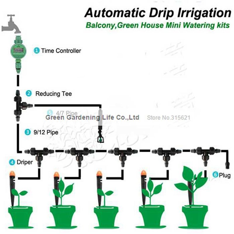 5m Timing Automatic Drip Irrigation System Balcony Greenhouse Flower Watering Kits Unmanned Ope Drip Irrigation Drip Irrigation System Garden Irrigation System