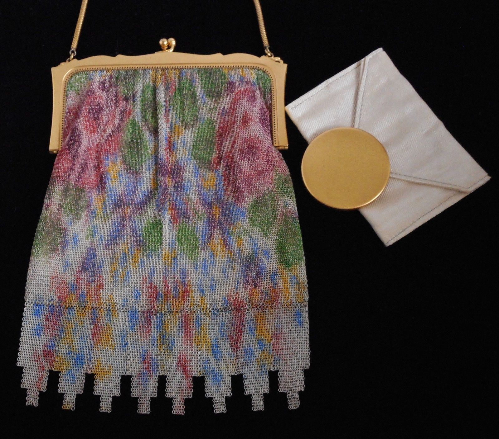 Art Deco Whiting and Davis Co. Watercolor Metal Ring Mesh Purse / Evening Bag with Mirror