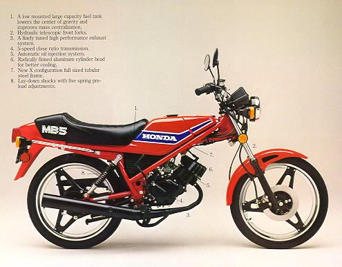 Another MB5 - stock Honda advert shot. Unusual 5 speed manual transmission on a 2-stroke 50cc engine.