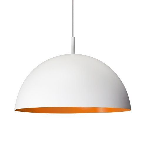 Dome Ceiling Lights: Large Modern White & Orange Retro Style Dome Ceiling