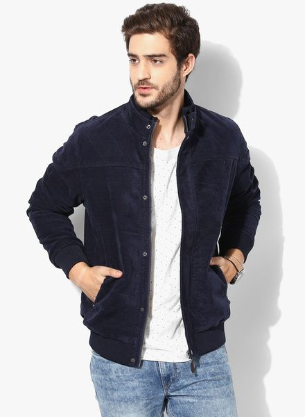 Buy Us Polo Assn Navy Blue Solid Regular Quilted Jacket For Men