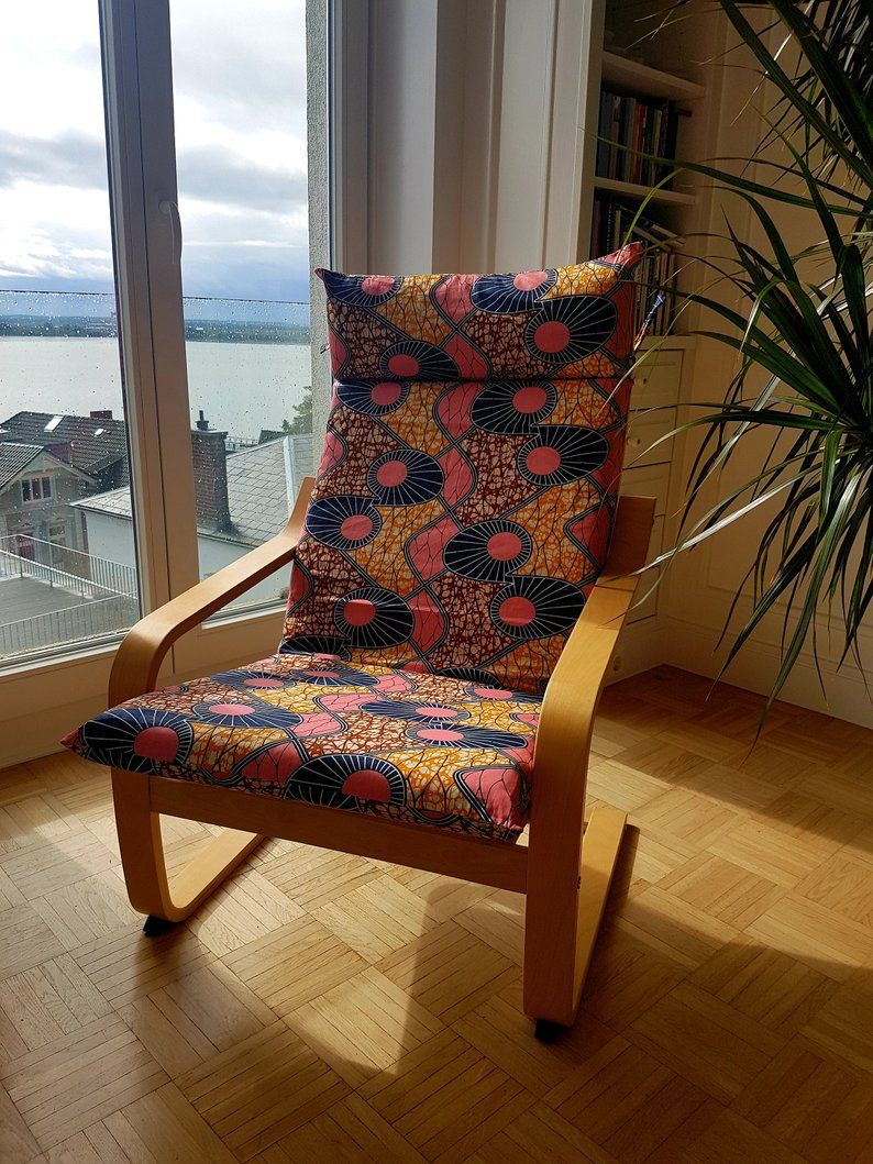 """African Wax Print Cover IKEA Armchair POANG """"Pink in"""