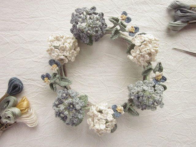 糸編み花のリース・露草とあじさい