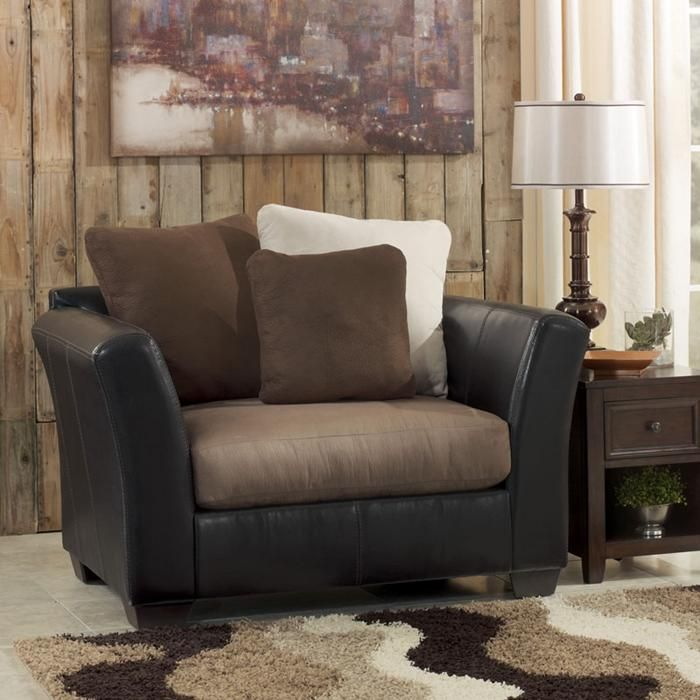 Best Two Toned Brown Upholstery Combo Chair And A Half 640 x 480