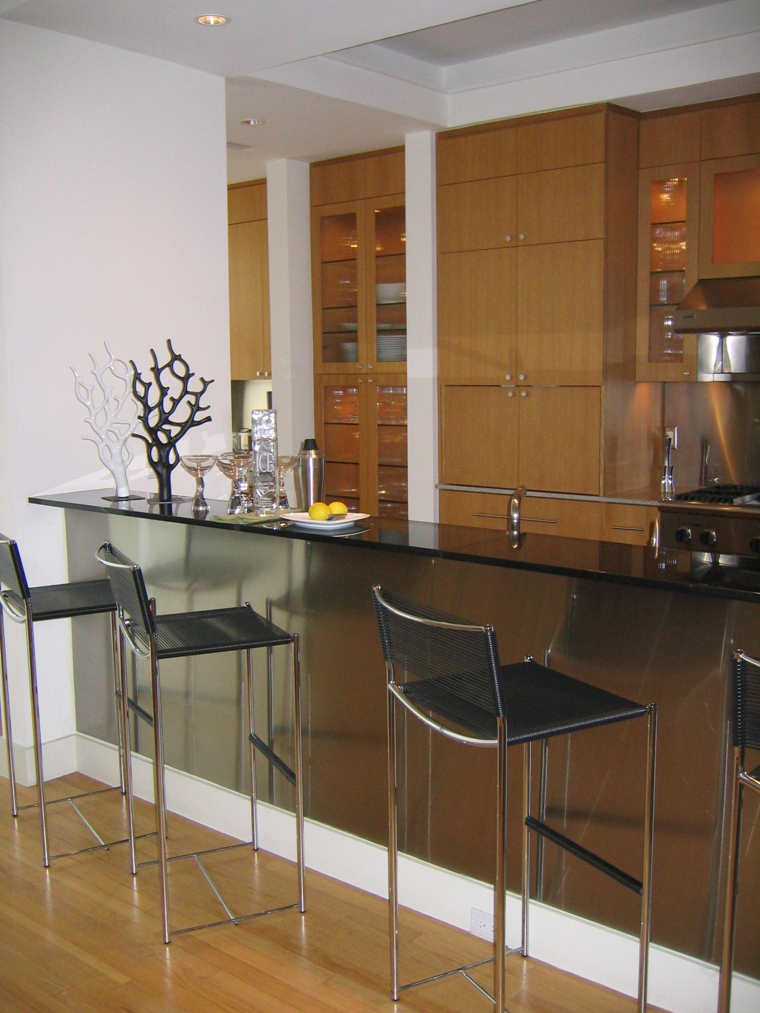 Delicieux Off The Kitchen   Stainless Steel Kick Plate On The Bar Compliments Leather  Barstools