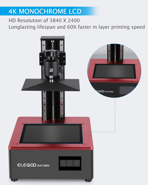 Elegoo Saturn Msla 4k Monochrome Lcd 3d Printer Elegoo3d Printer Lcd 3d Printer
