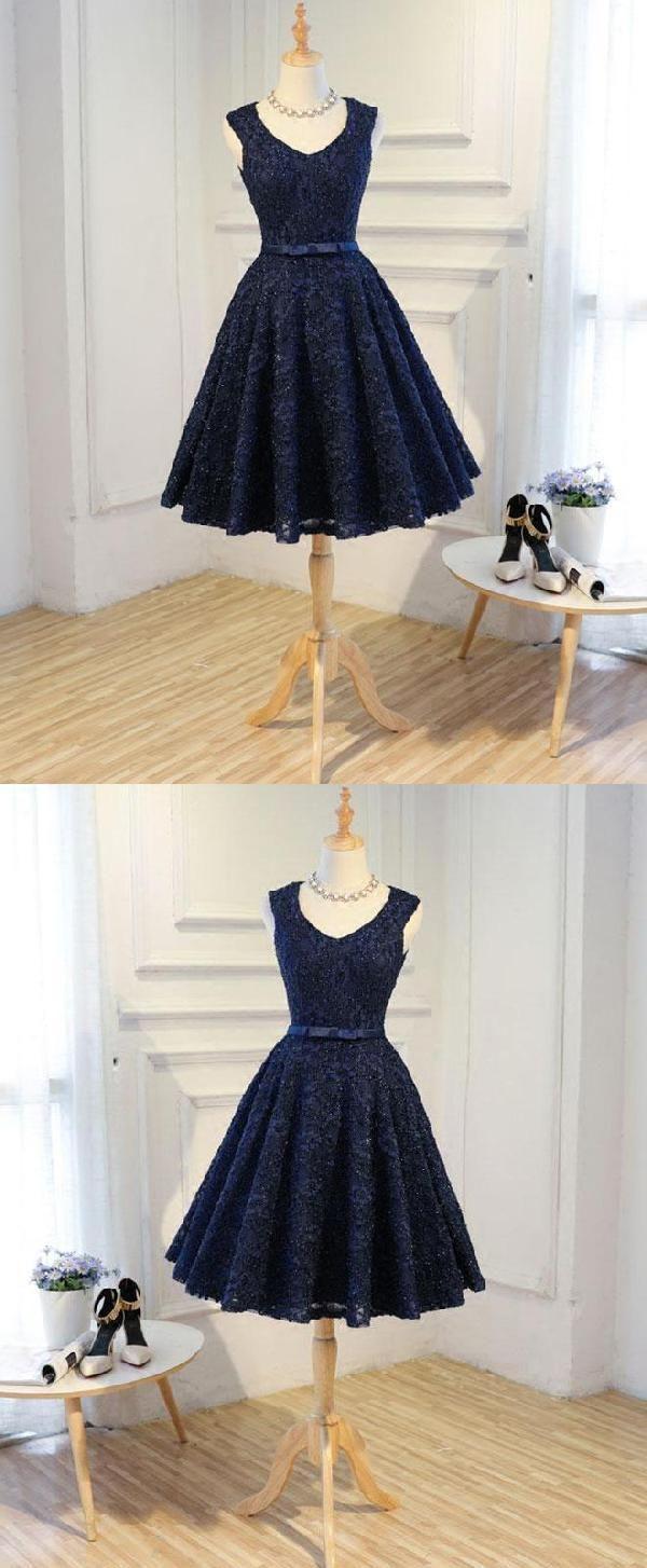Custom made fancy blue prom dresses prom dresses short lace prom